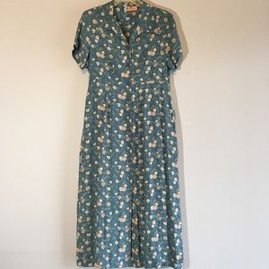 Vintage Button Down Dress Floral A-line Boho Maxi